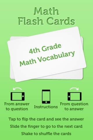4th Grade Math Vocabulary Flash Cards