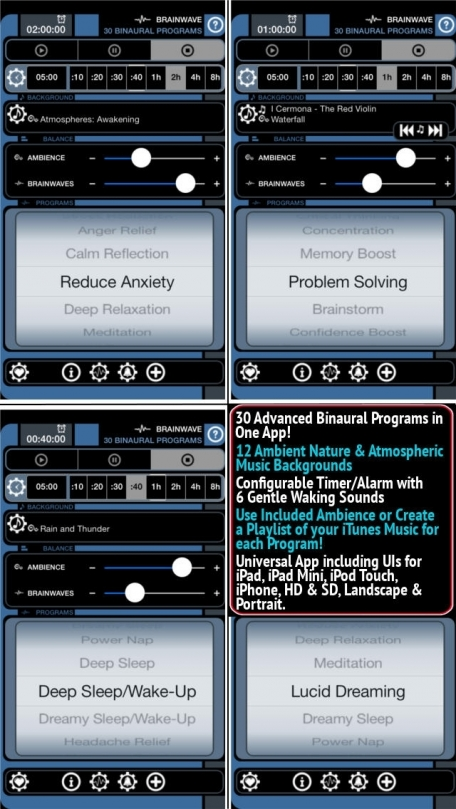 Brain Wave ™ - 30 Advanced Binaural Brainwave Entrainment Programs with Relaxing Ambient Background Sounds, Gentle Alarm and iTunes Music Integration for Sleep, Focus, Energy, Memory, Meditation and More