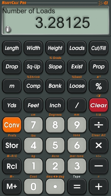 HeavyCalc Pro -- Feet Inch Yards Metric Construction Math Calculator for Excavators, Highway and Landscape Contractors, Road Builders, Civil Engineers and other Heavy Building Professionals