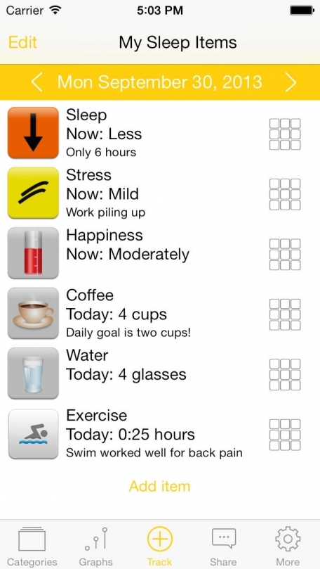 TracknShare LITE -  A self help life management journal to track and share your health symptoms, life goals, mood, exercise, habits, and remedies.