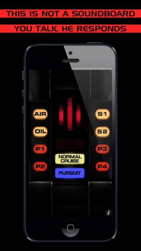 Ask KITT and listen to his voice! The popular supercar from the 80s is back. From the famous TV Show, a talking marvel for your inner nerd. Features speedometer, music player. Check it on YouTube and Facebook