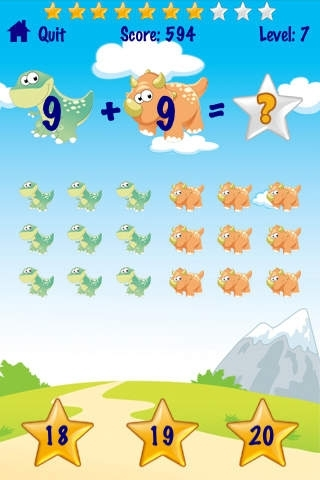 A Dinosaur Kids Math - Grade School Addition Subtraction Skills Game