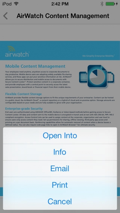 AirWatch - Secure Content Locker