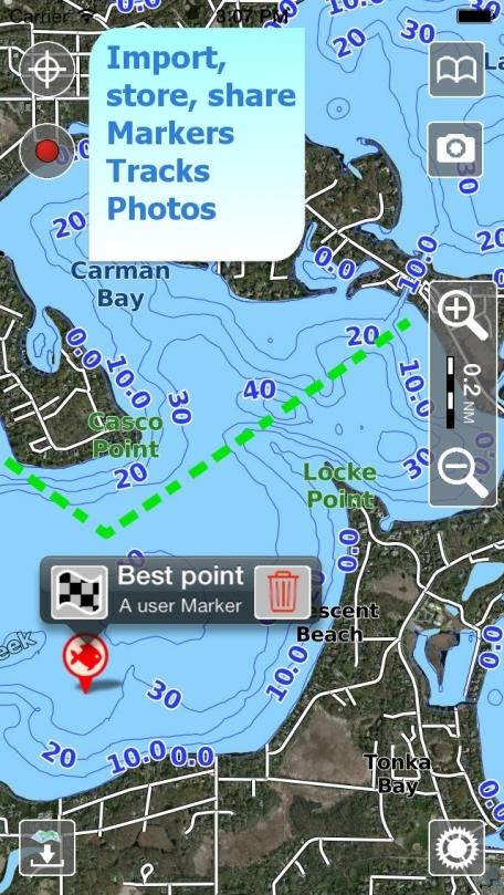 Aqua Map Minnesota - Lake GPS Offline Nautical Charts