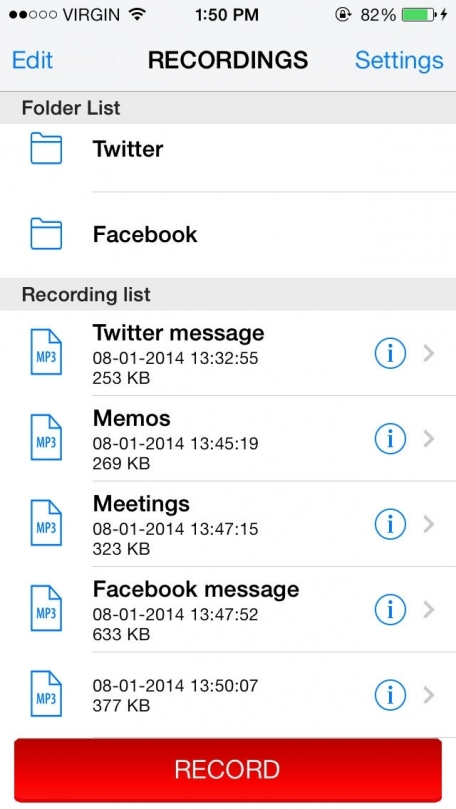 Audio Memos For Twitter and Facebook