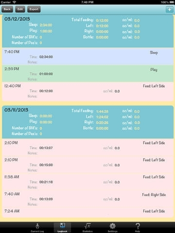 Baby Log FREE - Journal, Activities, and Feeding Logger