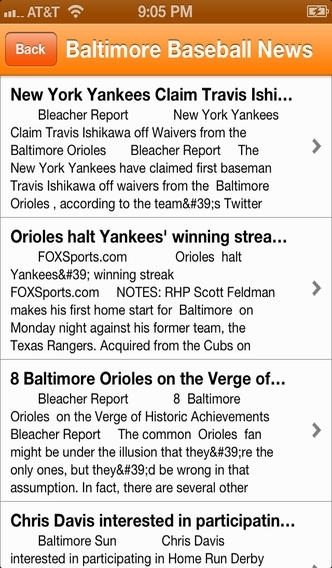 Baltimore Baseball - an Orioles News App