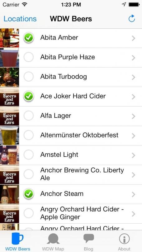 Beers and Ears Walt Disney World Beer List
