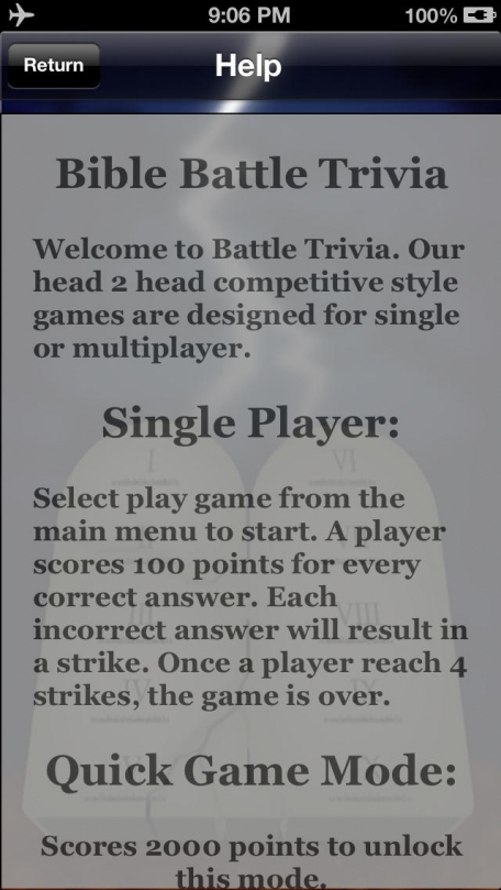 Bible Battle Trivia