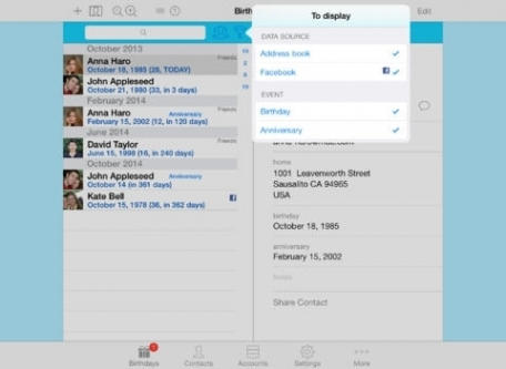 BirthdaysPro Lite for Facebook, XING, VK and contacts