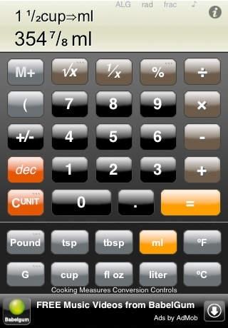 Calc Zero Cooking, a free cooking calculator