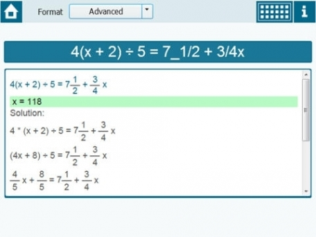 Calculator for solving linear equations (first degree equation) in one variable - xSolver