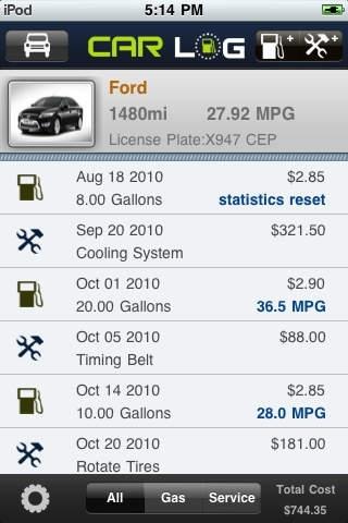 car log lite fuel mpg maintenance utilities app review ios