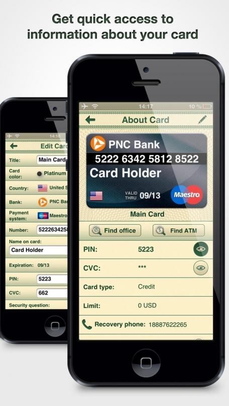Cards On Palm : Credit Cards Wallet & ATM Finder