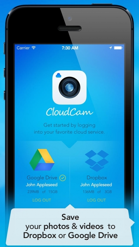CloudCam - Camera App for Dropbox and Google Drive
