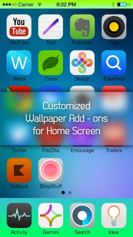 Colorize Your Status Bar Battery & Dock - Customize Your Wallpapers to Create Custmoized Colorful Designs for Status Bars & Docks Area