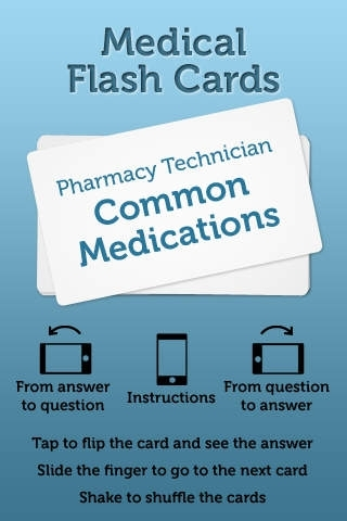 Common Medications Flash Cards for Pharmacy Technicians