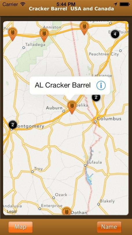 Cracker Barrel Usa Canada Travel App Review IOS For - Cracker barrel us map