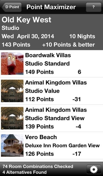 D Point DVC Disney Vacation Club Point Calculator