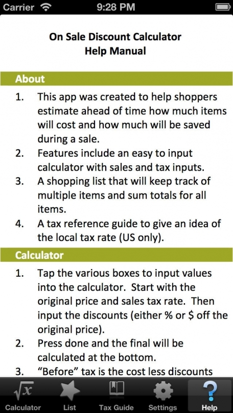 Discount Calculator FREE With Shopping List & Sales Tax Guide Mobile To Go