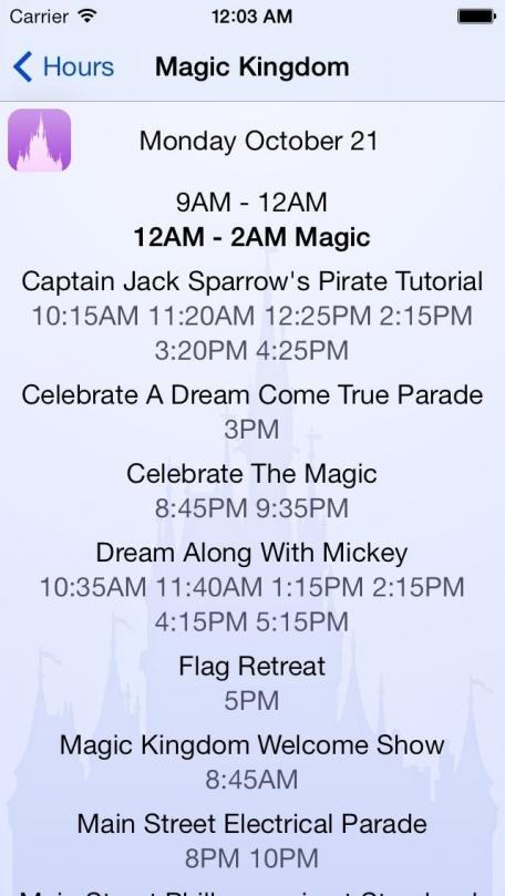 Disney World Park Hours Free