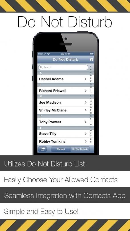 Do Not Disturb Allowed Callers App