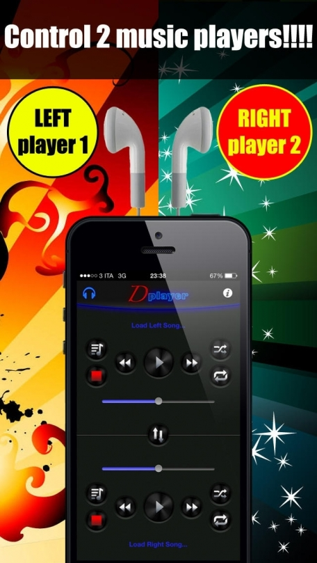 Double Player for Music with Headphones (Listen 2 songs simultaneously with headphones)