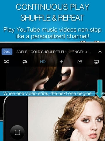 MB: YouTube music player edition 2 (iOS 7 ready! Download free app & make Facebook playlists! Share to Twitter, Gmail & WhatsApp)
