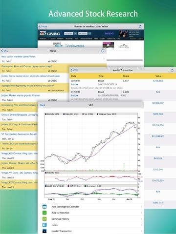 Earnings : Calendar, History, Reminder, Watch list with Next Earning Date & Real-Time Stock Quote, Chart, News, Insider Transactions.