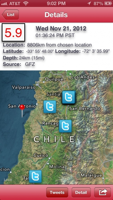 Earthquake - International reporting, alerts, maps, & custom notifications of world earthquakes