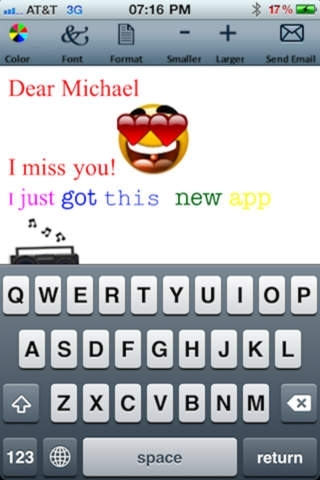 Email Text and Emoticons Editor Lite (Colors, fonts, formats and sizes)