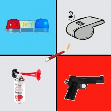 Emergency Police Kit: Blow Horn, Whistle, Flare, Siren, Cop Gun