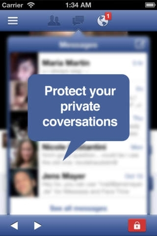 Facebook for iPhone Lockscreen - Pincode Security