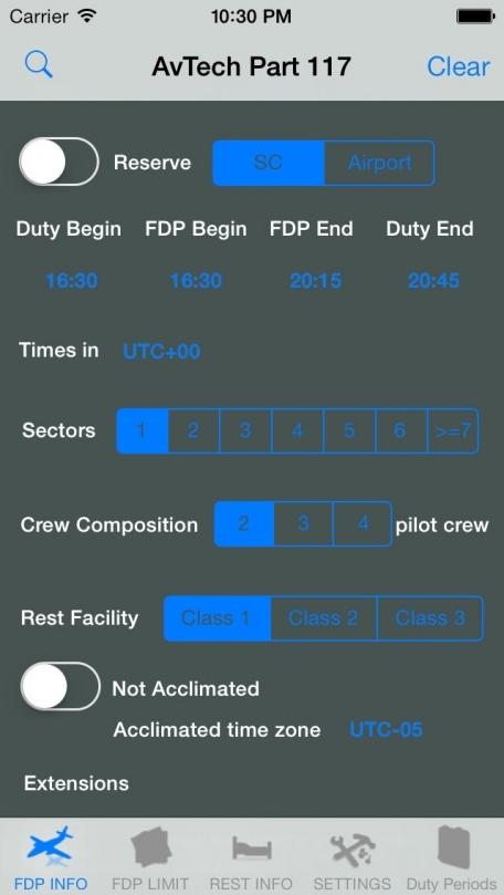 FAR's 117 Flight Duty Period Calculator