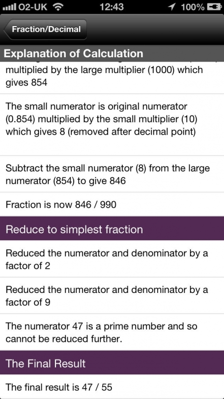 Fractions To Decimal and vice versa