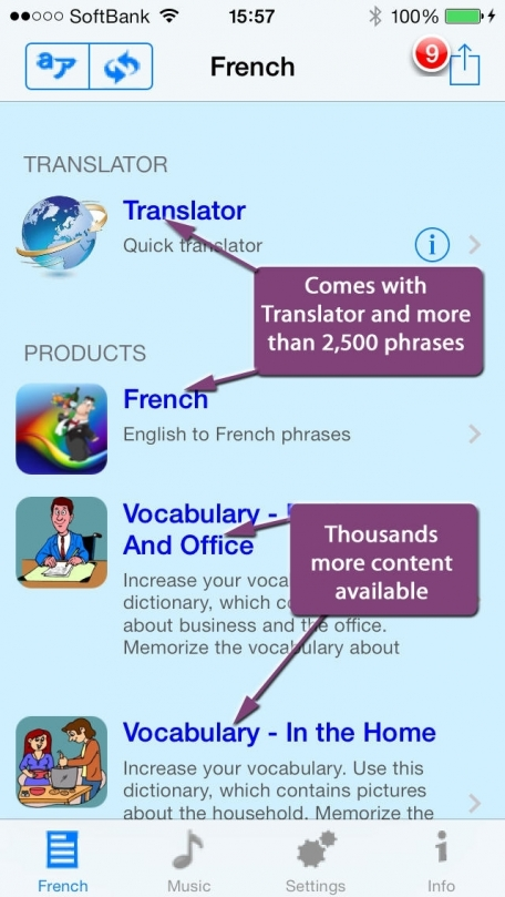 French - Talking English to French Translator and Phrasebook