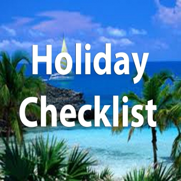 Holiday Checklist.Travel Checklist.Holiday Organizer