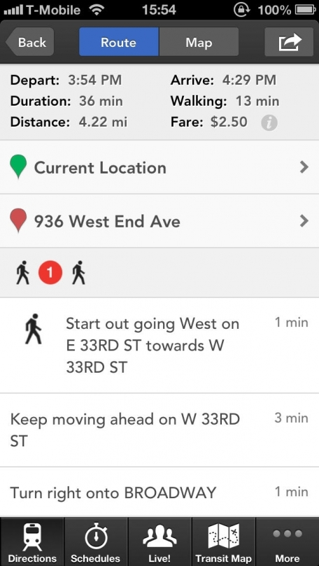 HopStop Transit Directions for iPhone