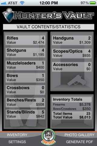 Hunter's Vault - Hunting Inventory Management