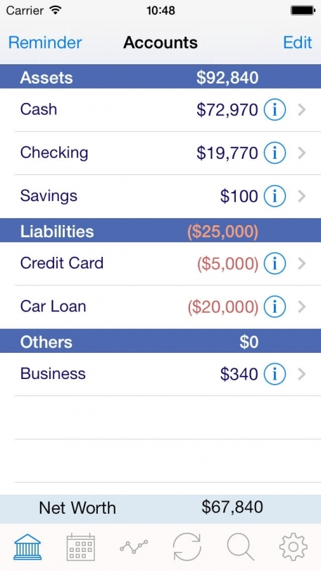 iAccount Pro - Checkbook, Spending, Income and Accounts Tracker