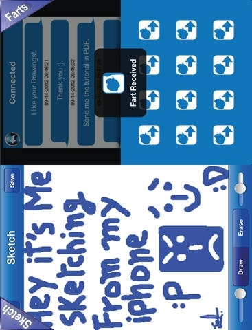 iBluetooth 10in1 for iPhone 5 (Files, Photos, Videos, Contacts, Chat, Voice, Sketch, Farts, Tennis, Bingo)