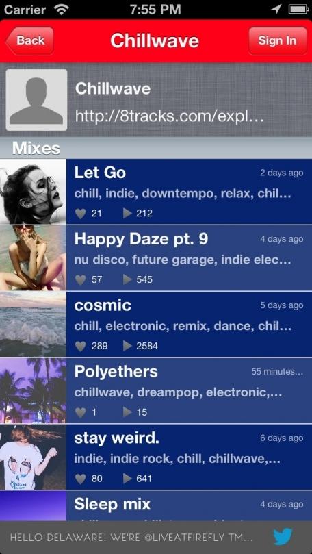 iGroove Grooveshark Music Playlists -Top mixes from Playlist.com & Groove Shark via 8Tracks
