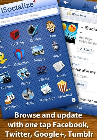 iSocialize+ for Facebook, YouTube, Twitter, Tumblr - Free
