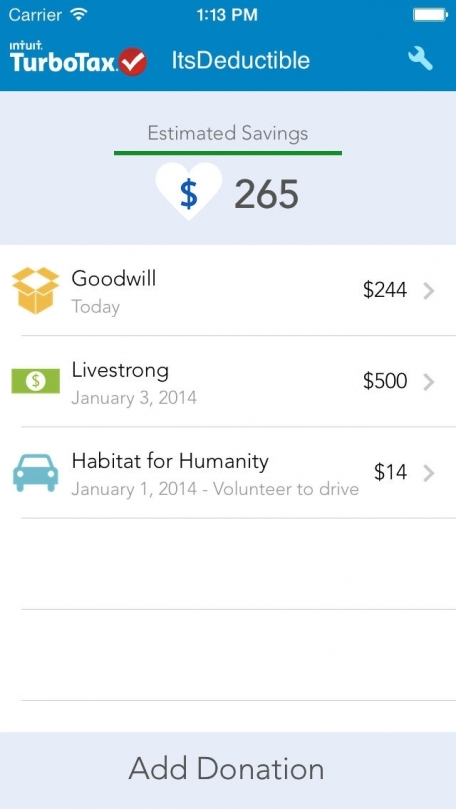 itsdeductible mobile track your donations finance app review ios