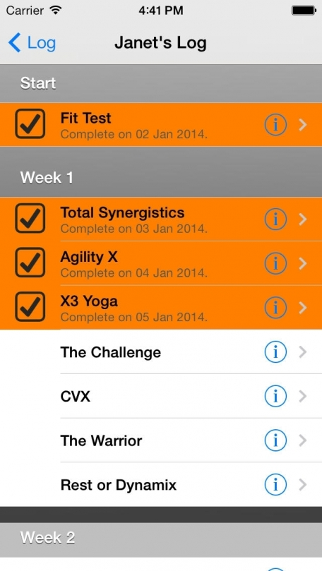 Log For P90X3 Workout