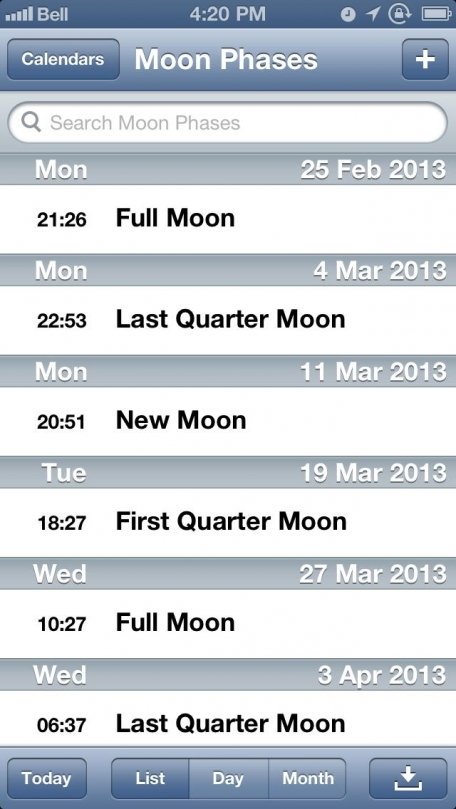 Moon Phases Calendar (MoonCal)