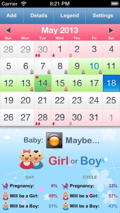 baby girl calendar