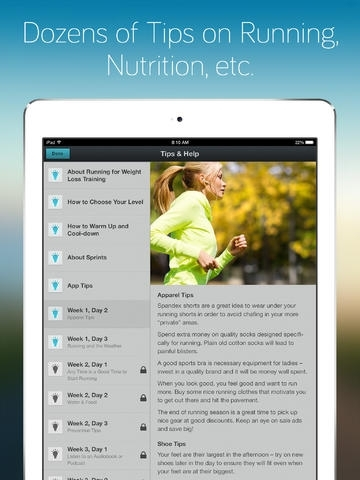 Running for Weight Loss for iPad: training plan, how-to-lose-weight tips by Red Rock Apps