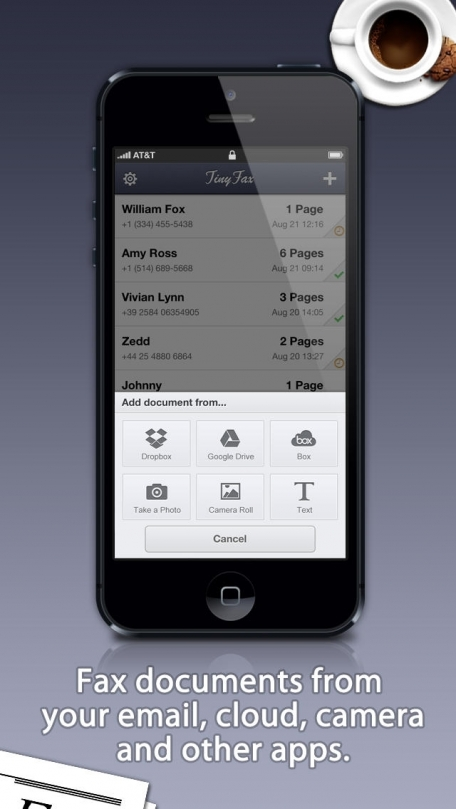 TinyFax - Fax documents with your phone