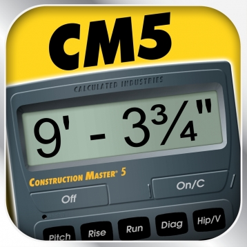 Construction Master 5 -- Feet Inch Fraction Construction Math Calculator for Builders, Contractors, Carpenters, Engineers, Architects and other Building Professionals
